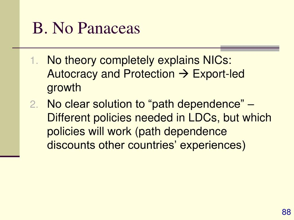 B. No Panaceas
