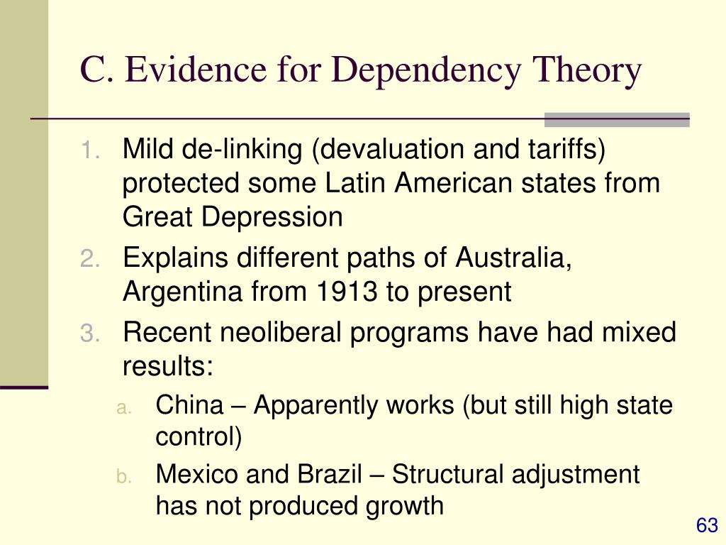 C. Evidence for Dependency Theory