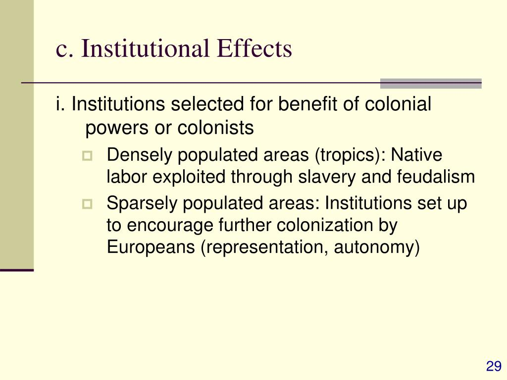 c. Institutional Effects