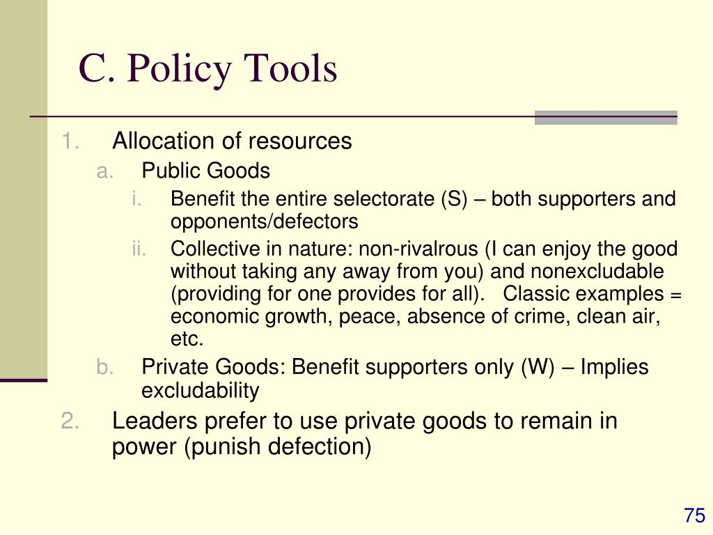 C. Policy Tools