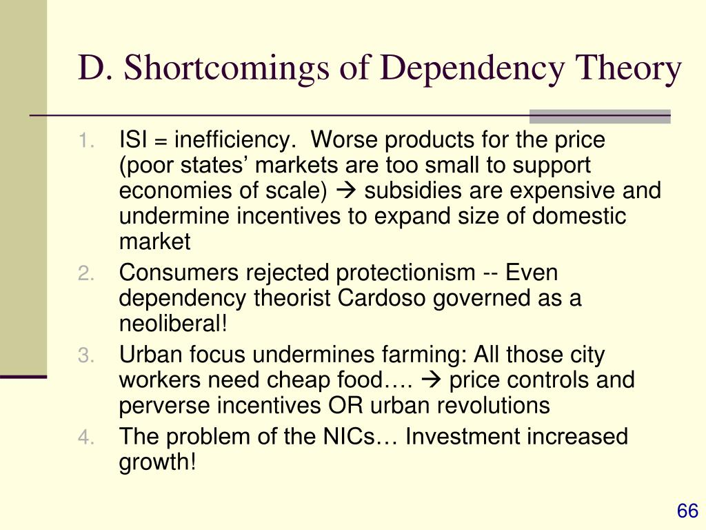 D. Shortcomings of Dependency Theory