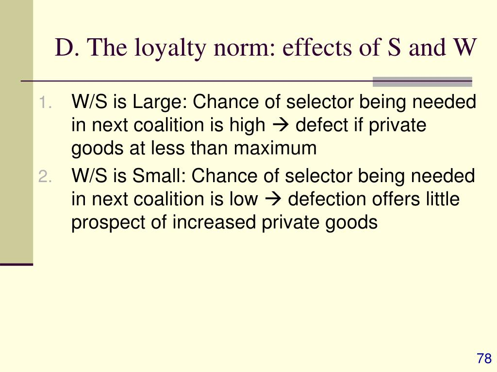 D. The loyalty norm: effects of S and W