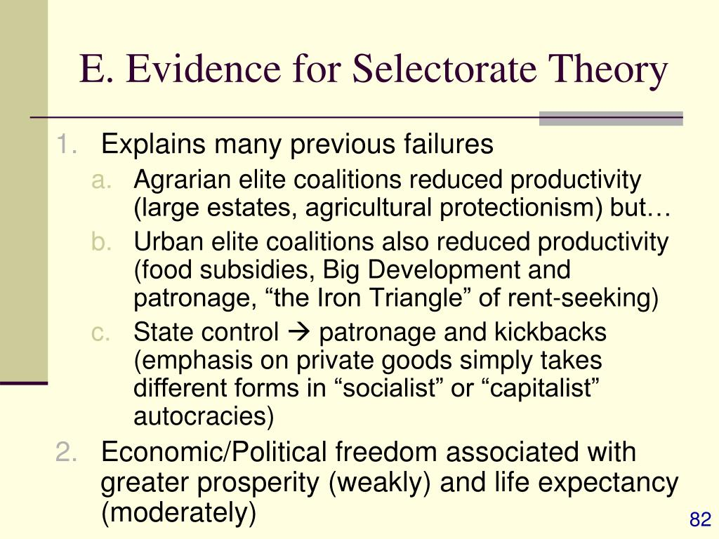 E. Evidence for Selectorate Theory