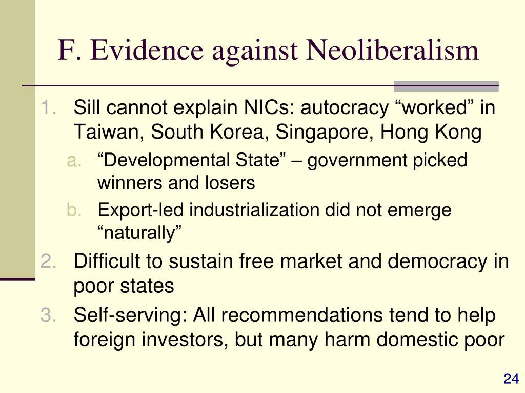 F. Evidence against Neoliberalism
