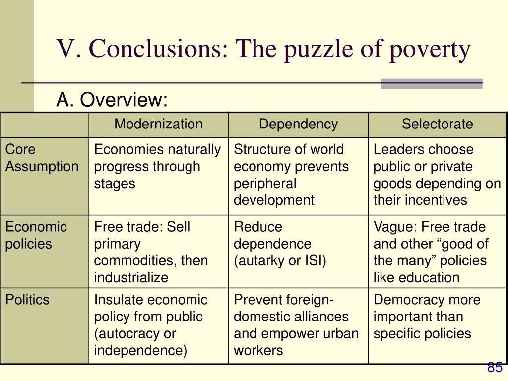 V. Conclusions: The puzzle of poverty