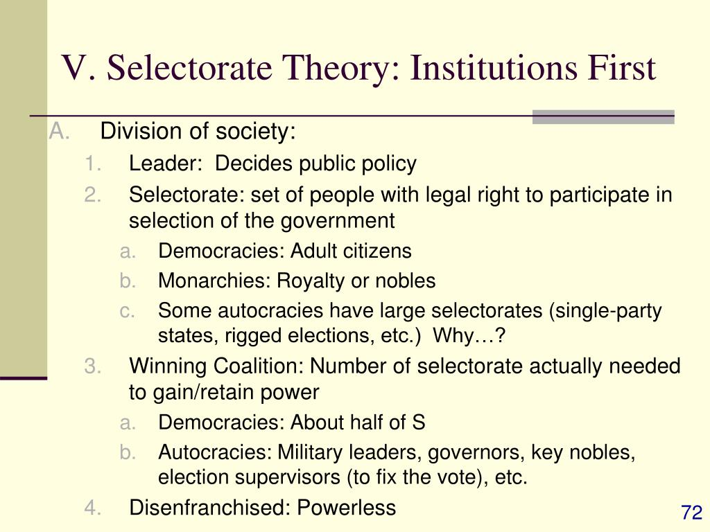 V. Selectorate Theory: Institutions First