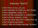 interview don ts