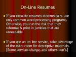 on line resumes