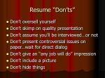 resume don ts