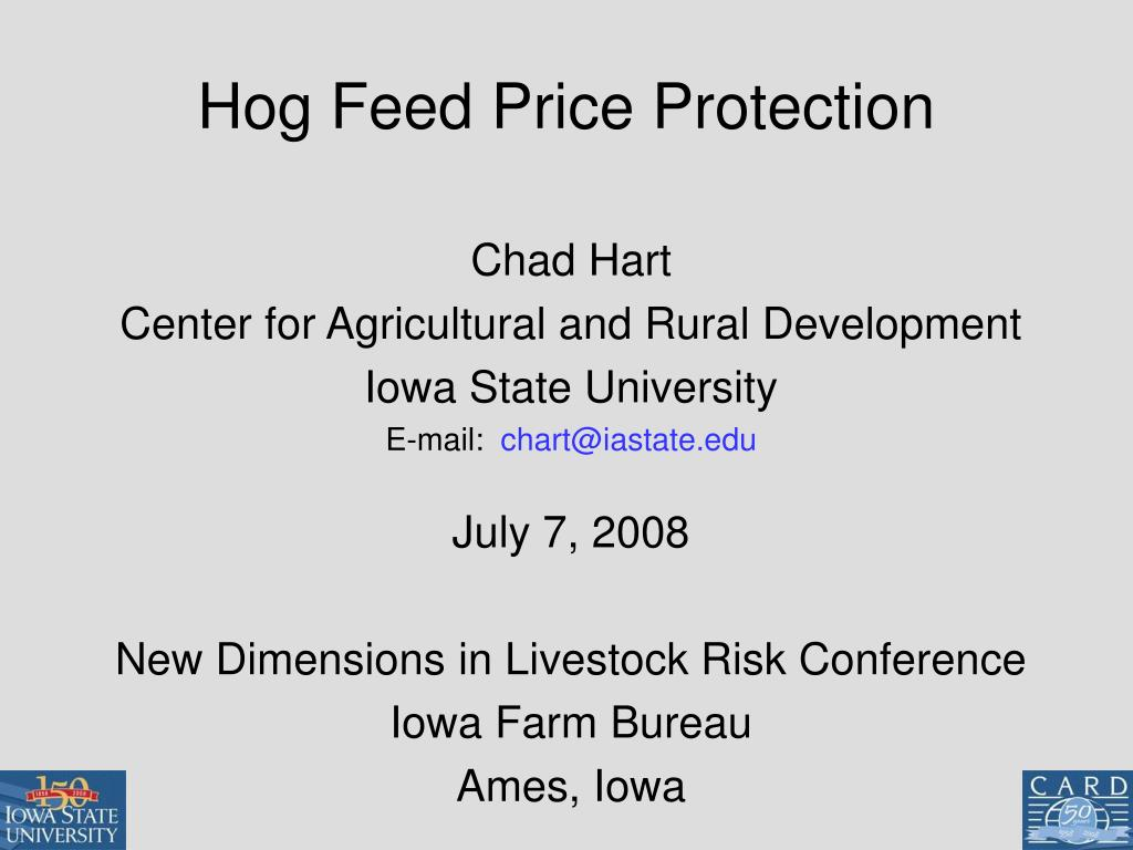 hog feed price protection