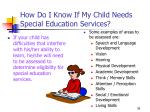how do i know if my child needs special education services