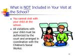 what is not included in your visit at the school