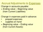 accrual adjustments to expenses