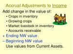 accrual adjustments to income