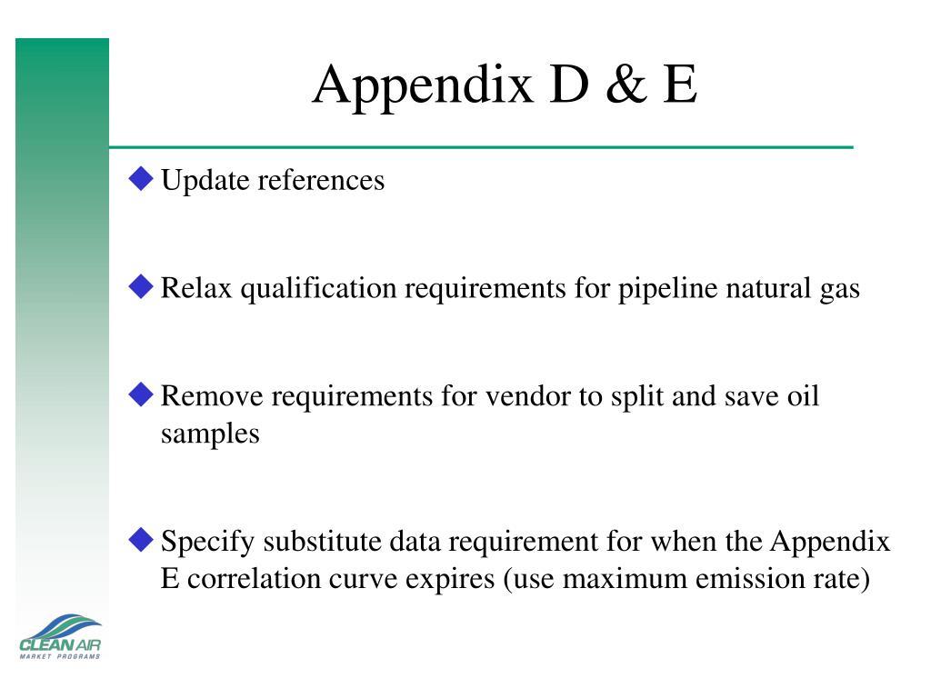 Appendix D & E