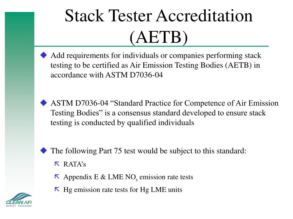 Stack Tester Accreditation (AETB)