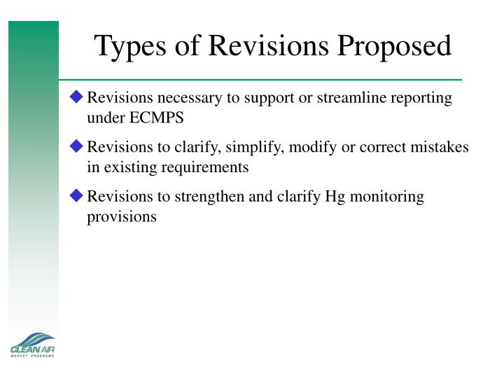 Types of revisions proposed