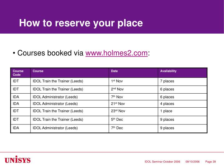 How to reserve your place