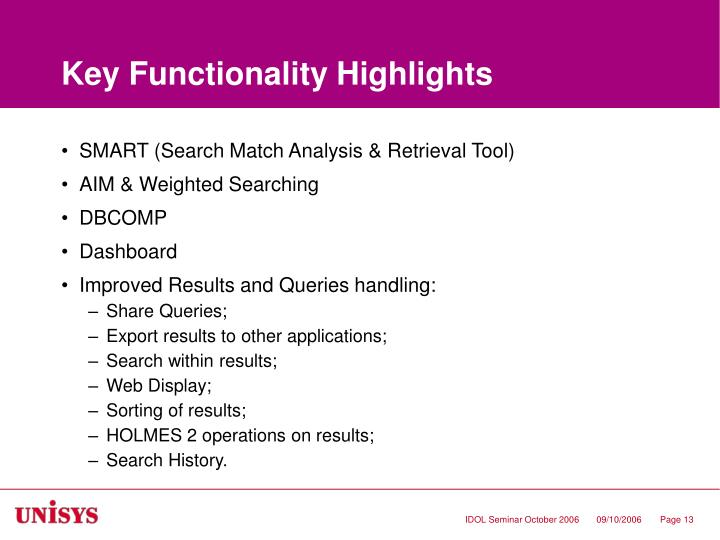 Key Functionality Highlights