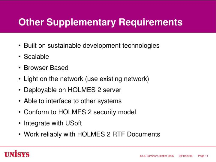 Other Supplementary Requirements