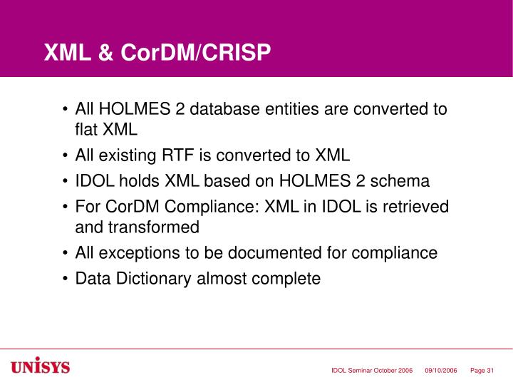 XML & CorDM/CRISP