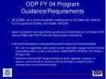 odp fy 04 program guidance requirements