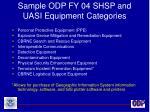 sample odp fy 04 shsp and uasi equipment categories