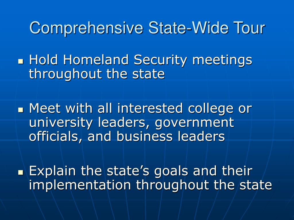 Comprehensive State-Wide Tour