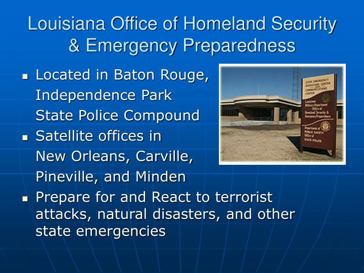Louisiana office of homeland security emergency preparedness