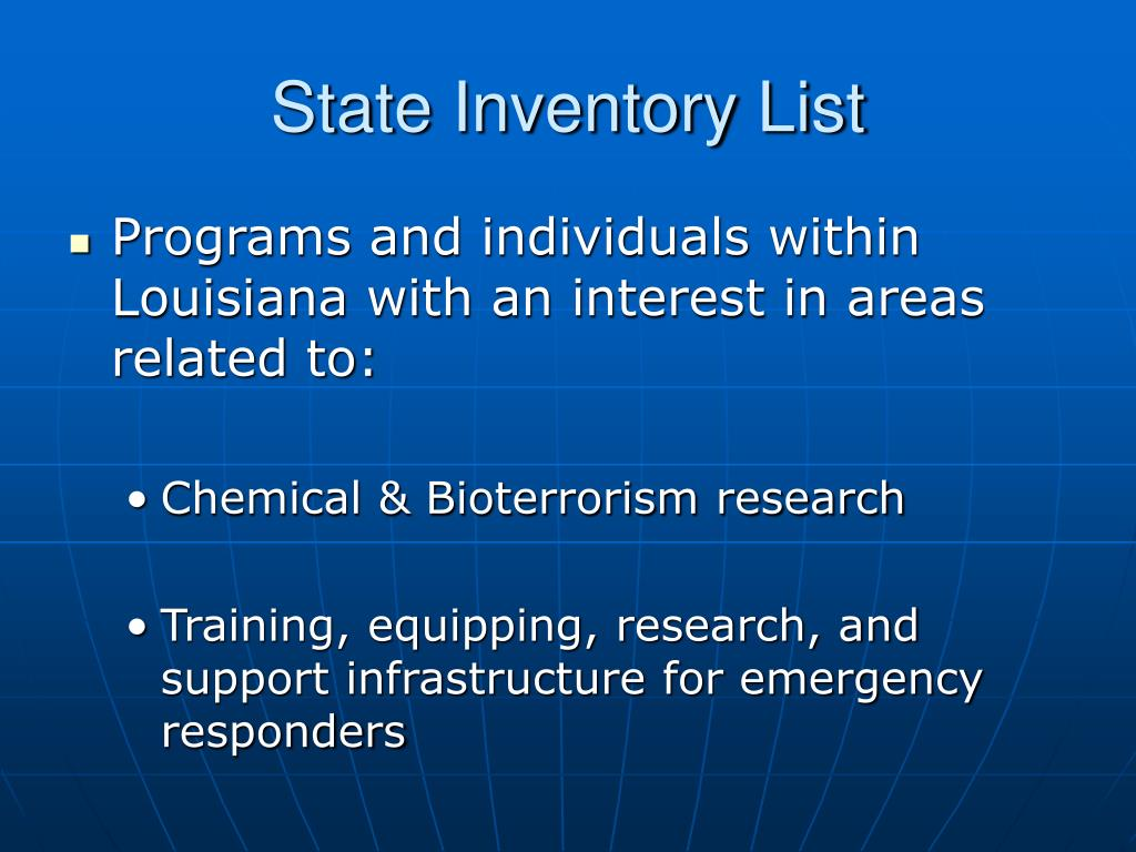State Inventory List