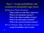 step 3 assign probabilities and scenarios to potentially large losses