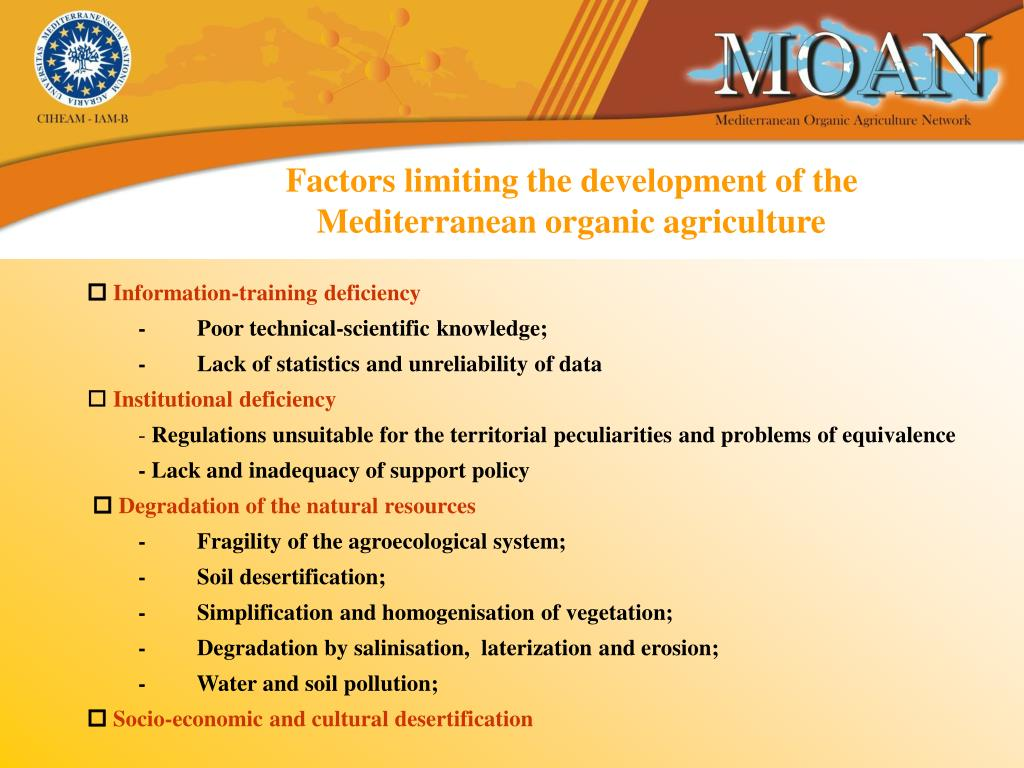 Factors limiting the development of the Mediterranean organic agriculture