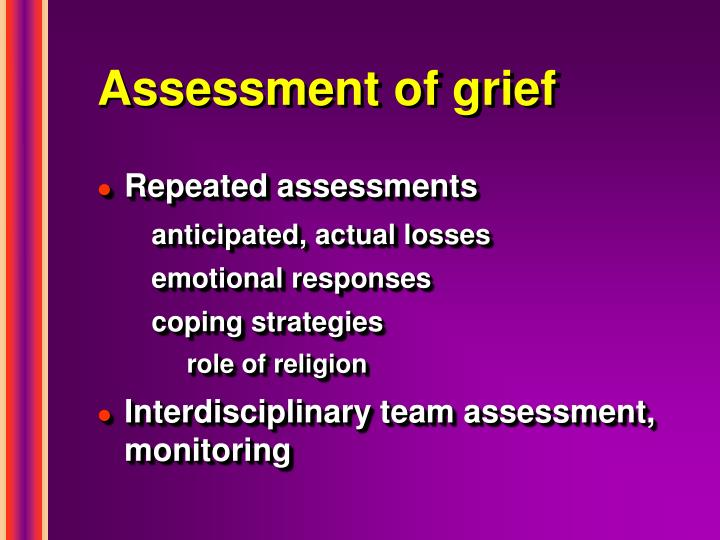 Assessment of grief