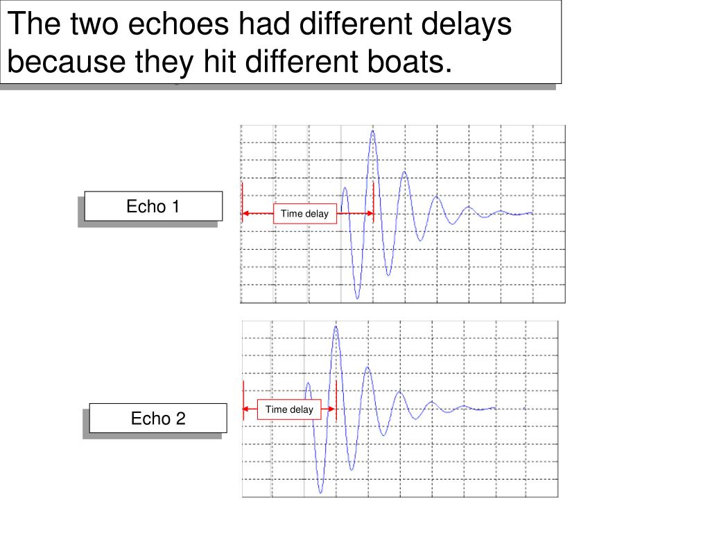 The two echoes had different delays because they hit different boats.