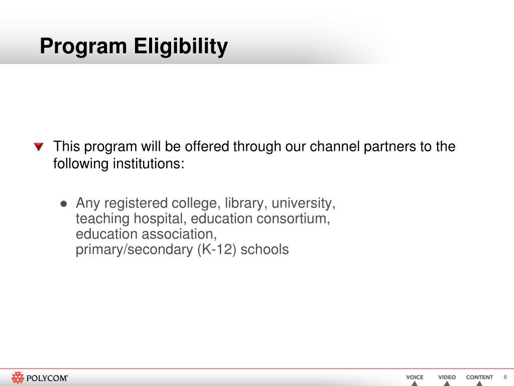 Program Eligibility