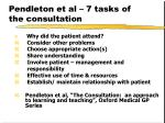 pendleton et al 7 tasks of the consultation