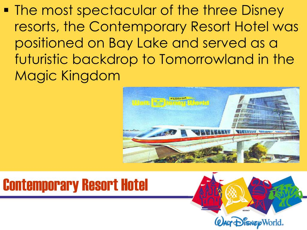 The most spectacular of the three Disney resorts, the Contemporary Resort Hotel was positioned on Bay Lake and served as a futuristic backdrop to Tomorrowland in the Magic Kingdom