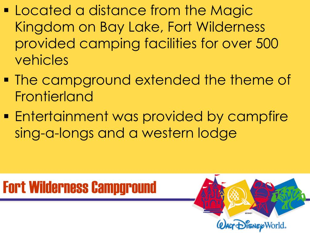 Located a distance from the Magic Kingdom on Bay Lake, Fort Wilderness provided camping facilities for over 500 vehicles