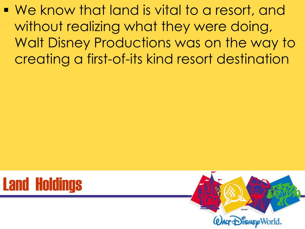We know that land is vital to a resort, and without realizing what they were doing, Walt Disney Productions was on the way to creating a first-of-its kind resort destination