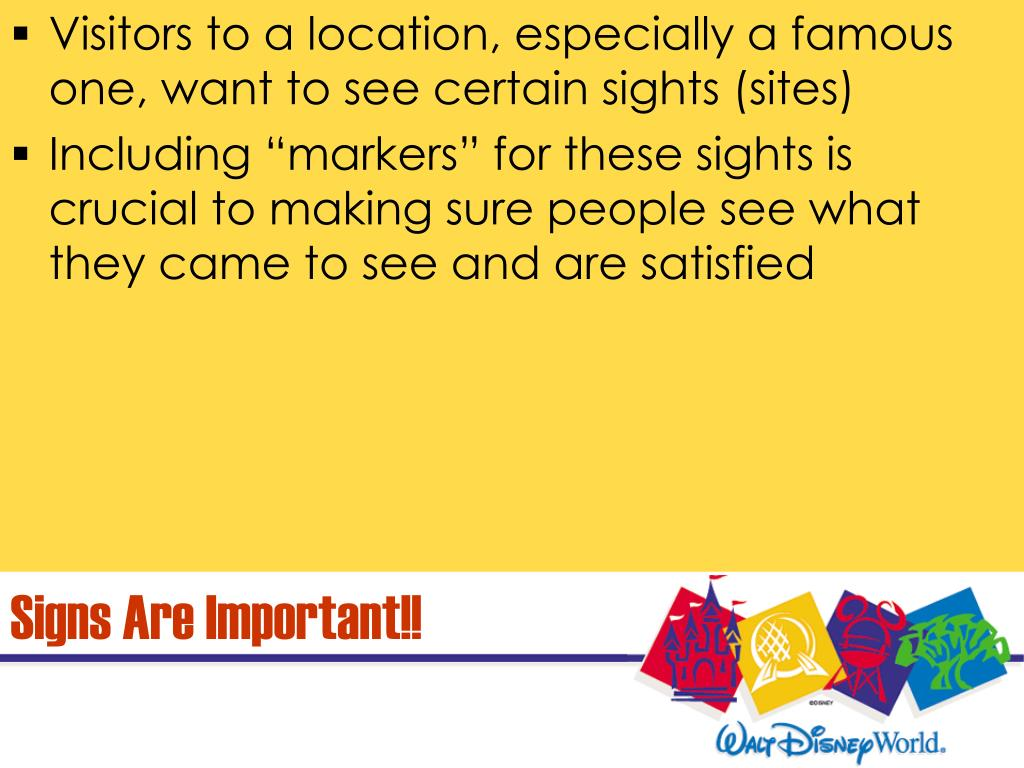Visitors to a location, especially a famous one, want to see certain sights (sites)