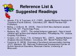 reference list suggested readings