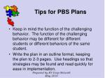 tips for pbs plans