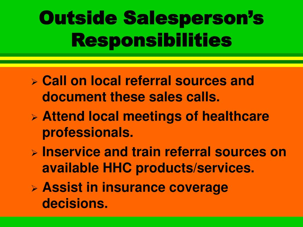 Outside Salesperson's Responsibilities