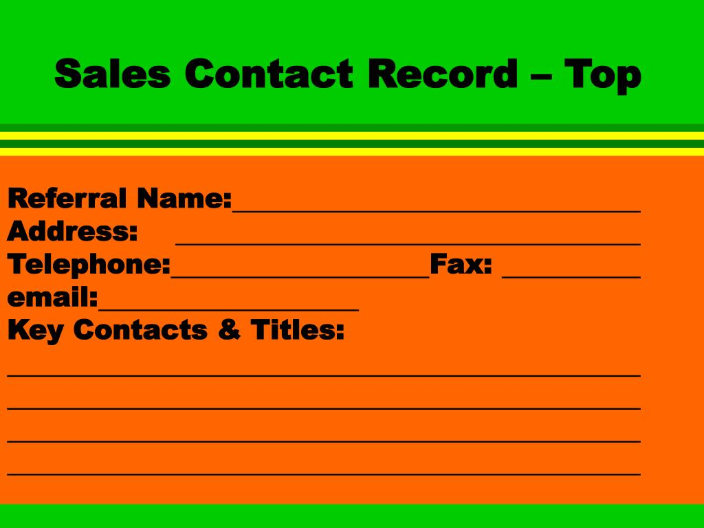 Sales Contact Record – Top