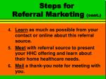 steps for referral marketing cont