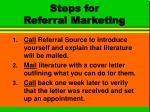 steps for referral marketing