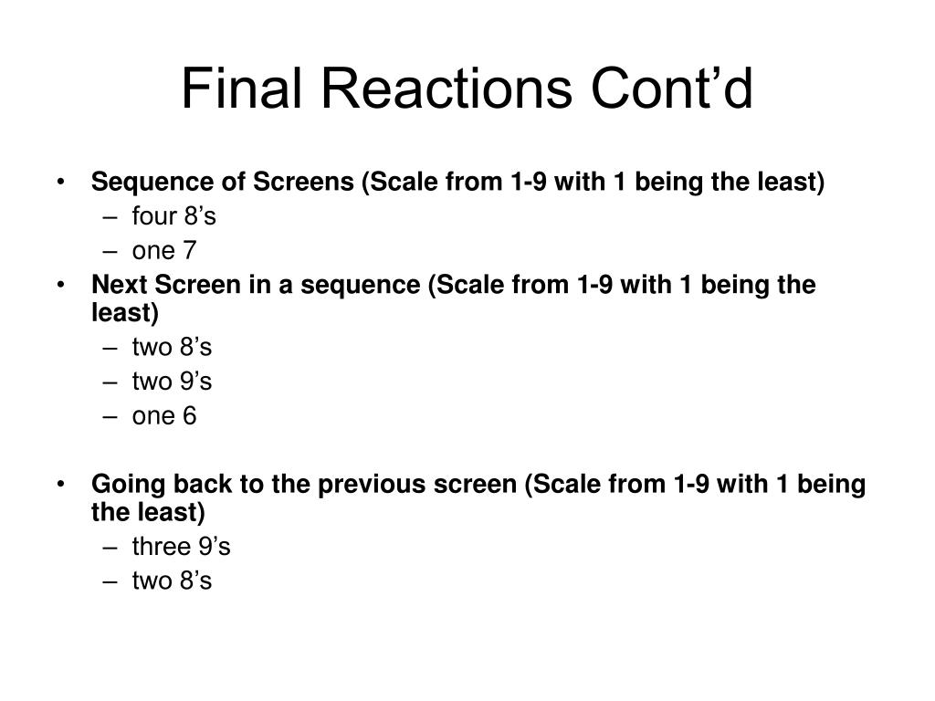Final Reactions Cont'd