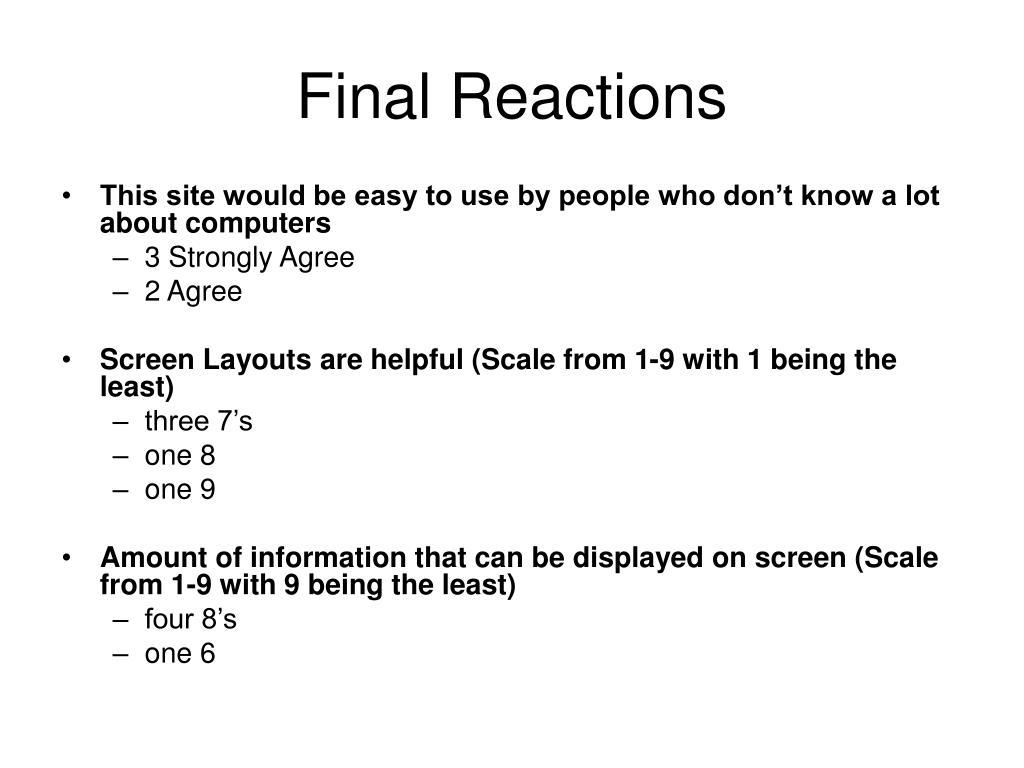 Final Reactions