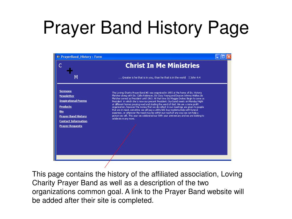 Prayer Band History Page