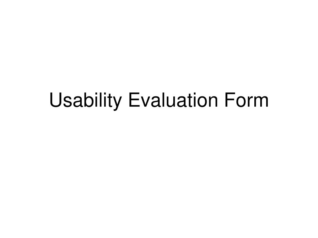 Usability Evaluation Form